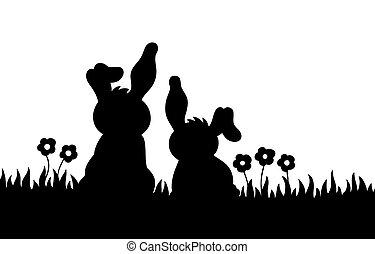 silhuet, i, to, kaniner, på, eng