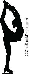 silhuet, kvindelig figur, skøjteløber