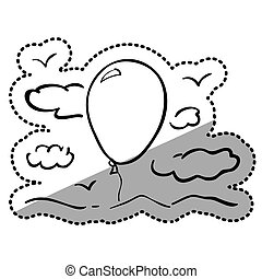 silhuet, mærkaten, skyer, balloon, luft