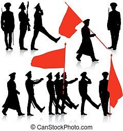 silhuet, militær, folk, hos, flag, collection., vektor, illu
