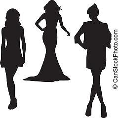 silhuet, mode, piger