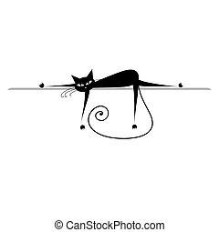 silhuet, relax., kat, sort, konstruktion, din