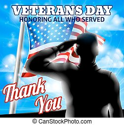 silhuet, soldat, saluting, amerikaner flag, dag veteraner, konstruktion