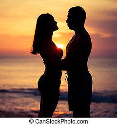 silhuet, solnedgang, tilbage, tid, constitutions, lys, par, hav