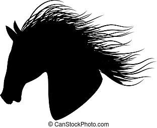 silhuet, sort hest