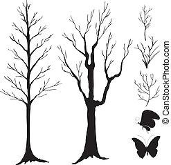 silhuet, vektor, branch, træ