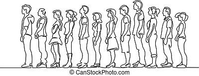 silhuet, venter, gruppe, beklæde, folk