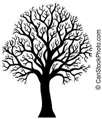 silhueta árvore, sem, folha, 2