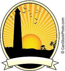 silhueta farol, anúncio, férias, pôr do sol, litoral, oval, bandeira