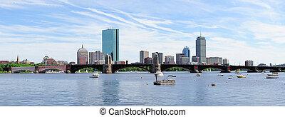 silhueta urbana, cidade, panorama