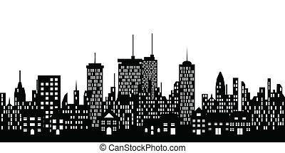 silhueta urbana, de, um, cidade