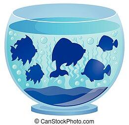 silhuetas, 2, peixe, aquário