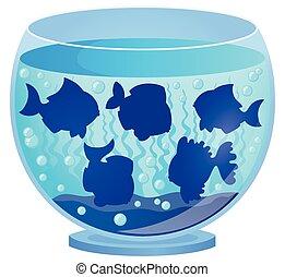 silhuetas, 3, peixe, aquário