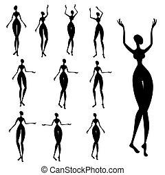 silhuetas, africano, mulheres