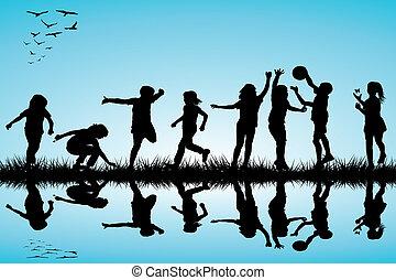 silhuetas, ao ar livre, grupo, tocando, crianças