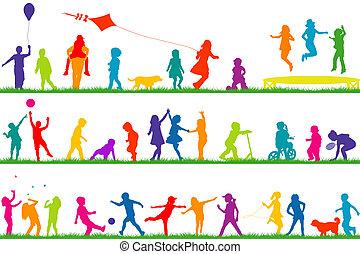 silhuetas, ao ar livre, jogar crianças, colorido