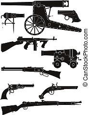 silhuetas, armas fogo, clássicas