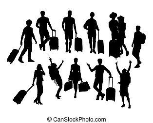 silhuetas, atividade, turista, pessoas