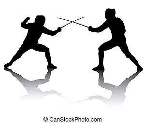 silhuetas, atletas, fencers