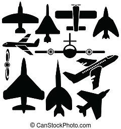 silhuetas, aviões