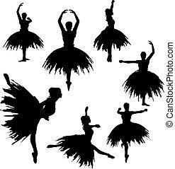 silhuetas, bailarina, clássico