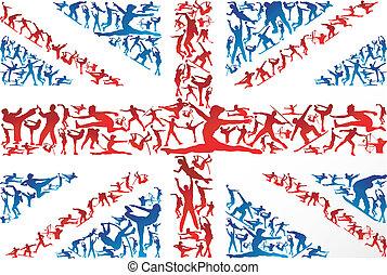 silhuetas, bandeira, reino unido, esportes