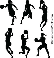 silhuetas, basquetebol, femininas, mulheres