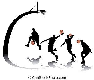silhuetas, basquetebol