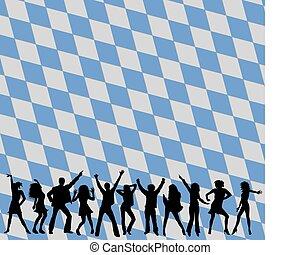 silhuetas, bavaria, dançar, pessoas