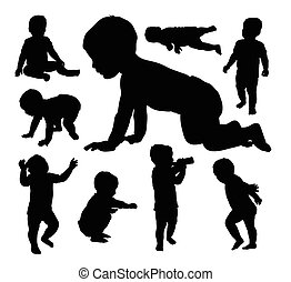 silhuetas, bebê, tocando