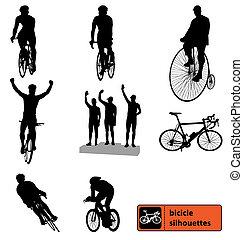 silhuetas, bicicleta, cobrança