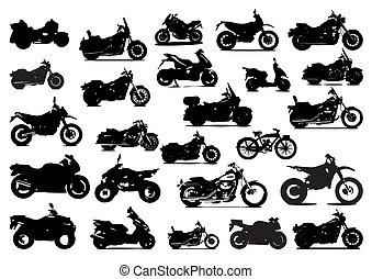 silhuetas, bicicletas