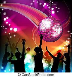 silhuetas, bola, discoteca