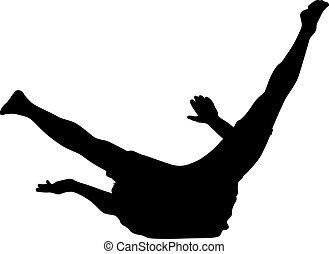 silhuetas,  breakdancer, pretas, branca, fundo