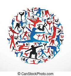 silhuetas, círculo, esportes