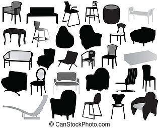 silhuetas, cadeira