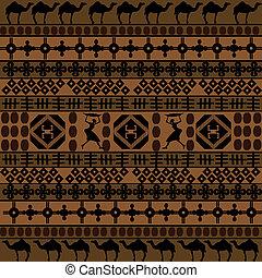 silhuetas, camelos, arabescos, fundo, africano