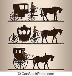 silhuetas, carruagens