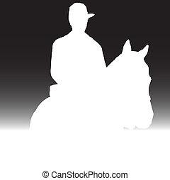 silhuetas, cavalo, branca, homem
