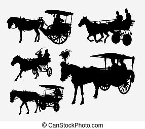 silhuetas, cavalo, carruagem