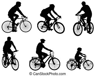 silhuetas, ciclistas, jogo