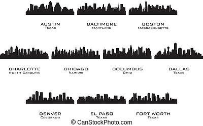 silhuetas, cidades, 1, eua