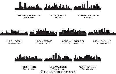 silhuetas, cidades, 2, eua