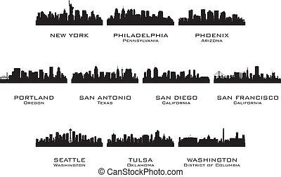 silhuetas, cidades, 3, eua