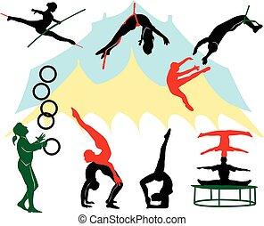 silhuetas, circo, performers.