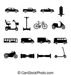 silhuetas, cobrança, transporte, ícones