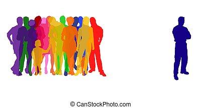 silhuetas, colorido, pessoas
