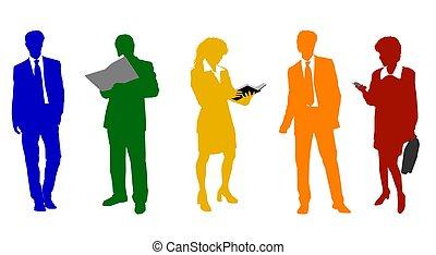 silhuetas, colorido, pessoas negócio