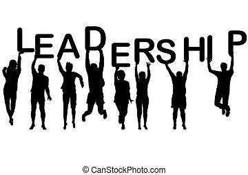 silhuetas, conceito, liderança, pessoas