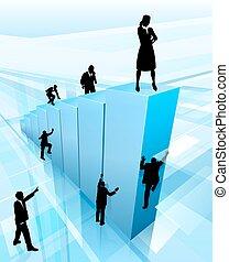 silhuetas, conceito, negócio, sucesso, pessoas